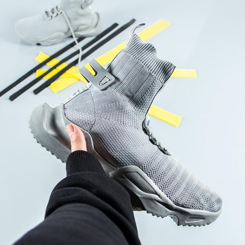 کفش ساقدار Off white مدل socuring(طوسی)